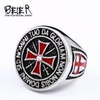 指輪 リング 赤 レッド クロス ステンレス リング メンズ