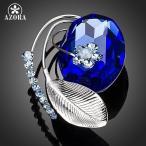 ブローチ 青 ブルー クリスタル 花 フラワー レディース