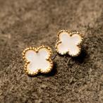 【送料無料】 ピアス 花柄 ホワイト ゴールド レディース 白 金 上品 フラワー