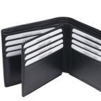 牛革製  カード16枚収納  中ベラ付き  二つ折り財布(小銭入れなし)  札入  ブラック2293-01/03057995