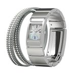 wena wrist Three Hands Square Silver -Crystal Edition-