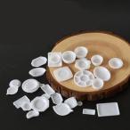 デコ・ミニチュア ミニミニホワイトプラ皿食器 32個セット/食品サンプル/フェイクフード/卸売り/フェイクスイーツ/ミニチュアフード