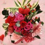 ハートピック付き バラのアレンジメント 『ピュアハートアレンジ』 期間限定 バレンタイン&ホワイトデー 花ギフト