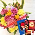 花とスイーツのセット バラアレンジメントと赤い帽子ブルーBOX クッキー缶ギフトセット 誕生日 記念日 お祝い花 即日発送