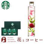 花とコーヒーのセット ハーバリウムロングボトル ローズピンクとスターバックスコーヒーギフトセット 誕生日 記念日 お祝い花 即日発送 あすつく