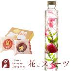 花とスイーツのセット ハーバリウムロングボトルとどうぶつドーナツ2個入りギフトセット 誕生日 記念日 お祝い花 即日発送