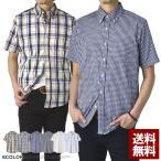 イージーケア ブロック ギンガム ストライプ ウインドウペン メンズ 半袖シャツ 開襟シャツ 送料込み C2J【パケ1】