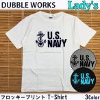 ダブルワークス DUBBLEWORKS レディース size 33005-07 ミリタリー フロッキープリント Tシャツ アメカジ  ウエアハウス