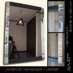 壁掛け鏡 ミラー アンティーク レトロ おしゃれ ウォールミラー デザイナーズ 英字新聞 かっこいい
