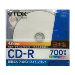 ����������TDK �ǡ�����CD-R 700MB 48��® 1�� 5mm����ॱ���� �ۥ磻�ȥ磻�ɥץ�֥� �������åȥץ���б� CD-R80PWD-CS