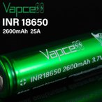VAPCELL INR18650 2600mah 25A 電子タバコ vape バッテリー バップセル ベープセル 18650 最大放電電流 25A 容量 2600mAh ☆ VAPCELL INR18650 2600mah 25A