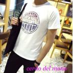 ショッピング紺 Tシャツ メンズ 半袖 プリント クルーネック アメカジ ネイビー ホワイト