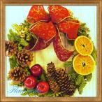 ショッピングクリスマスリース クリスマスリース ドイツトウヒとオレンジのハーヴェスト リース 35cm