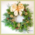 クリスマスリース 送料無料 大きい 玄関 オレゴン産生モミのクリスマスリース 50cm  選べるリボン おしゃれ