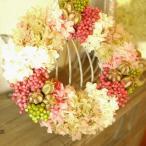 ショッピングリース フラワーリース プリザーブドフラワーとピンクベリーリース 23cm 送料無料 結婚式