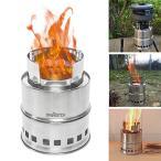 キャンプストーブ Signstek ウッドストーブ 二次燃焼 コンパクト 焚火台 アウトドア用 軽量ストーブ 燃料不要 五徳 収納パック付
