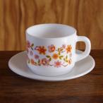 フランス製 ARCOPAL アルコパル コーヒーカップ ソーサー オレンジ ピンク 小花柄 #180119-1to4