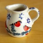 ポーランド食器 赤い小鳥と木の実 ミニ クリーマー D57-GILE Boleslawiec ボレスワヴィエツ陶器 ポーリッシュポタリー