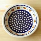 ポーリッシュポタリー 深皿 りんごの実 ネイビー目玉柄 22cm スーププレート パスタ カレー皿 ポーランド食器 Boleslawiec ボレスワヴィエツ陶器 GU1002-479