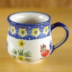 ポーランド食器  にわとりと黄色の花柄 マグカップ S ポーリッシュポタリー コーヒーカップ 220ml K52-ALC59 ボレスワヴィエツ陶器 Boleslawiec