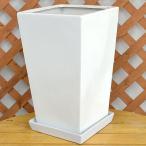 スクエア陶器鉢LL ホワイト 8〜9号サイズ