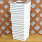 ウェーブスクエアポール陶器鉢M ホワイト 7号サイズ