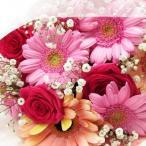 誕生日プレゼント 花 送料無料 薔薇とガーベラが入った長い形の花束