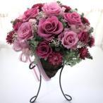 プリザーブドフラワーギフト ストロベリーピンクのアイアンスタンド付きバスケット / 花 ギフト 誕生日 結婚 新築 記念日  内祝い プレゼント インテリア