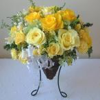 母の日ギフト プリザーブドフラワーギフト バラと小花のアイアンスタンド付きバスケット / ふらわーぱれっと  誕生日 結婚 新築 記念日  母の日 ギフト