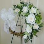 リース プリザーブドフラワーリース ギフト ピュアホワイトローズのハーフリース・結婚祝い/新築祝い/結婚記念日/誕生日プレゼント/クリスマス