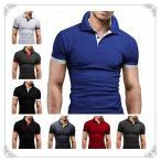 メンズ ポロシャツ Vネック POLOシャツ 半袖Tシャツ スポーツシャツ スタンドカラー バッジ ボーダー 無地 お兄系 カジュアル 夏物