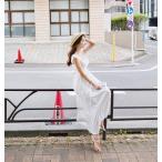 マキシワンピース シフォンワンピース ドレス マキシ丈ワンピース 通勤 結婚式 白 ホワイト 春 ロング ノースリーブ マキシワンピ ワンピース レディース
