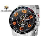 J.HARRISON ジョン・ハリソン 腕時計  3D多機能付 両面スケルトン 自動巻時計 J.H-020BO ブラックオレンジ 橙色 メンズ 送料無料