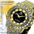 J.HARRISON ジョン・ハリソン 腕時計  シャニングソーラー 電波時計 クリスタルガラス J.H-025GB 金 メンズ 送料無料