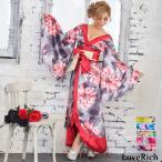 サテン花柄ロング着物ドレス 衣装 ダンス よさこい 花魁 コスプレ キャバドレス