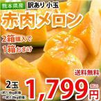 メロン 赤肉メロン 送料無料 訳あり 小玉 2玉 約1.4kg前後〜約1.8kg前後 2箱購入で1箱おまけ 熊本県産 クインシーメロン