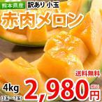 メロン 訳あり 小玉 赤肉メロン 4kg 送料無料  お取り寄せ 熊本県産 クインシーメロン