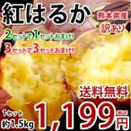 紅はるか べにはるか 訳あり 1.5kg 送料無料 2セットで1セットおまけ 3セットで3セットおまけ さつまいも 熊本県産 サツマイモ 紅蜜芋 焼き芋 芋 いも