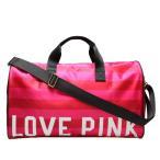 ヴィクトリアシークレット ピンク バッグ Victoria's Secret PINK ボストンバッグ ノベルティ ショルダー付き ボーダー 限定