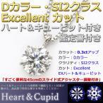 ダイヤモンド ネックレス 一粒 プラチナ Pt900 0.3ct 6本爪 無色透明 Dカラー SI2 Excellent H&C ダイヤネックレス ペンダント 鑑定書付き H&Cスコープ付き