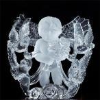天然石 最高級 天然水晶手彫り天使 エンジェル 鑑別付彫刻置物