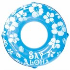浮き輪 〔120cm〕 ブルー ハイビスカス柄 塩化ビニール樹脂製 〔プール ビーチ 海外旅行〕〔代引不可〕