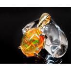 最高級 メキシコオパール(メキシカン・ファイアーオパール) ペンダントトップ (18金イエローゴールド) No.2 (鑑別書付) パワーストーン 天然石