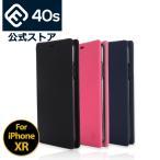 iPhone XR ケース 手帳型 耐衝撃 スタンド機能 薄型 スタンド機能 カード収納ポケット Qi対応 シンプル おしゃれ iPhoneXR スマホケース 40sブランド