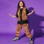 キッズダンス衣装 ヒップホップ HIPHOP セットアップ ベスト チアガール 半袖Tシャツ パンツ 迷彩柄 子供服 男の子 女の子 ステージ衣装 練習着 体操服