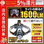 ヘッドライト 1600ルーメン 照射距離300メートル 充電式 LEDヘッドライト 電池 充電ケーブル ヘルメットホルダー 付属 ヘッドランプ fl-sh022