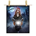 【バセットハウンド ドッグ 犬 いぬ バイク クリスマス サンタクロース】ポストカード by Fox Republic