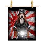 【バセットハウンド ドッグ 犬 いぬ バイク 日本 日の丸】ポストカード by Fox Republic