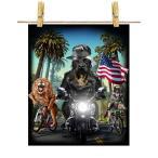 【黒毛 ラブラドルレトリバー ドッグ 犬 いぬ バイク ヒップホップ】ポストカード by Fox Republic