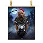 【ブルマスティフ ドッグ 犬 いぬ バイク クリスマス サンタクロース】ポストカード by Fox Republic